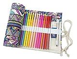 Cre-go Federmappe Schlamperrolle Mäppchen Bleistiftkasten für 48 farbige stifte (anmerkung:keine Farbstifte)-Bohemian,48 Holes
