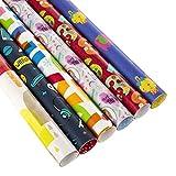 Hallmark - Confezione da 6 rotoli di carta da regalo per bambini, design misto, 2 m ciascuno, 12 m in totale)