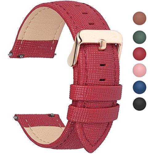 Fullmosa Uhrenarmband, Cross Serie Echtes Lederarmband Ersatzband Smart Watch Armband mit Edelstahl Metall Schließe 18mm Rot