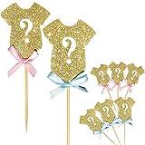 Uteruik - Decoraciones para Cupcakes con Purpurina para revelar el género de los bebés, Suministros para Fiesta de Bienvenida de bebé, 24 Unidades