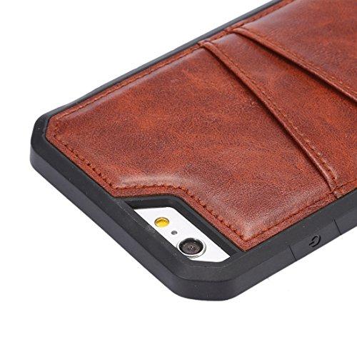 Phone case & Hülle Für iPhone 6 / 6s, Crazy Horse Texture TPU Schutzhülle mit Card Slot ( Color : Coffee ) Coffee