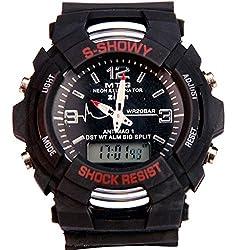 Surya S-shock Dual Time Analog- Digital Black Dial watch for Men-SBD