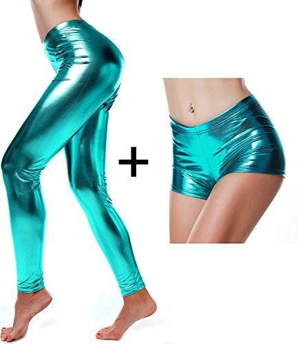 DIAMONDKIT Liquid Wet Look Shiny Metallic Stretch Leggings (L, Blue)