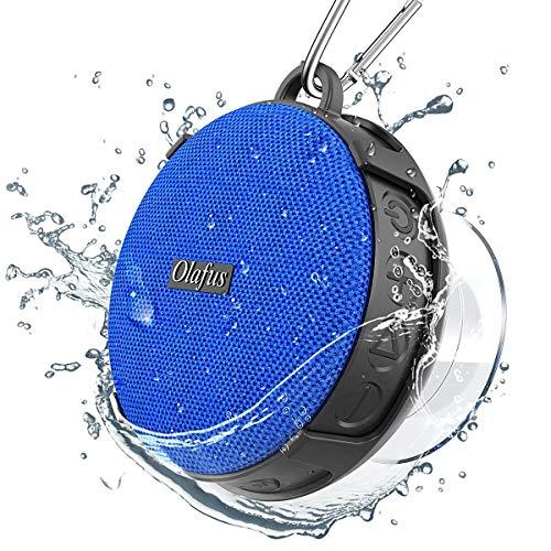 Olafus Bluetooth Lautsprecher, IPX7 Wasserdicht Bluetooth 5.0 Duschlautsprecher mit Saugnapf, Tragbar Wireless Speaker mit Freisprechenfunktion für Outdoor Dusche, 10H Spielzeit