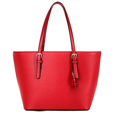 1.Damen Umhängetasche:große farbige modische feine Handtasche Shopper Tasche (Rote Handtasche)