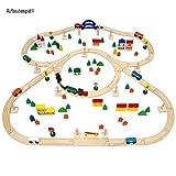 eyepower Holzeisenbahn für Kinder mit 130 Teilen | Spielzeugeisenbahn mit über 5 Meter Schienenlänge und Zubehör für eine ganze Stadt | Holzeisenbahn-Set für Mädchen und Jungen -