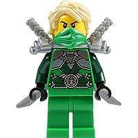 LEGO Ninjago: Lloyd Garmadon (green ninja) Minifigure with shoulder armor and two katanas (swords)