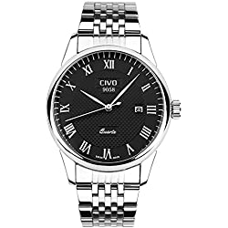 CIVO Men's Luxury Stainless Steel Band Date Calendar Wrist Watch Mens Casual Business Analogue Quartz Waterproof Wrist Watches Classic Roman Numeral Simple Design Fashion Dress Wristwatch Black Dial