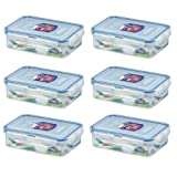 6 X Lock & Lock Food Storage 550ml Rectangular Box HPL815