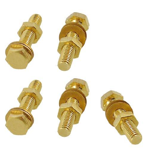 5 pièces en laiton massif à tête hexagonale vis Attaches 6 mm x 30 mm w Joints de noix