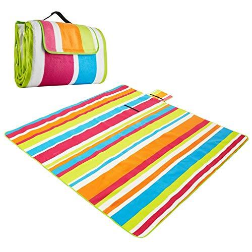 MIW Große Outdoor-Picknick-Decken, Wasserdichte Unterlage 200 x 200 cm übergroßen weichen Fleece-Material Camping Tote Mat