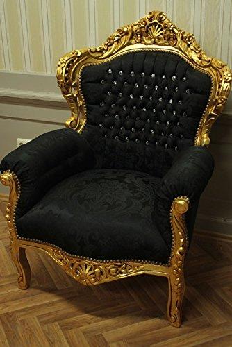 LouisXV Barock Sessel Armlehner Vintage Antik Stil Rokoko Blatt Gold Schwarzer Samt/Velour Strass...
