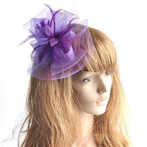 Kitzen Frauen Fascinator, Kopfbedeckung Stirnband Blume Feder Hochzeit Braut Haarband Cocktail Party Hüte,Purple