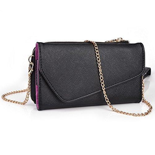 Kroo d'embrayage portefeuille avec dragonne et bandoulière Sangle pour LG G2Mini Black and Green Black and Violet