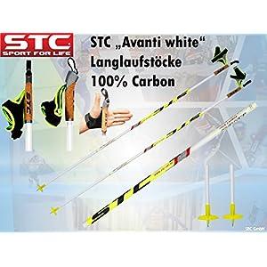 STC Avanti 100% Carbon Skating Langlauf Stöcke White, Langlaufstock