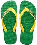 Havaianas Brasil Logo Unisex Kids Flip Flops,Green, 8/9 Child UK (25/26 BR) (27/28 EU)