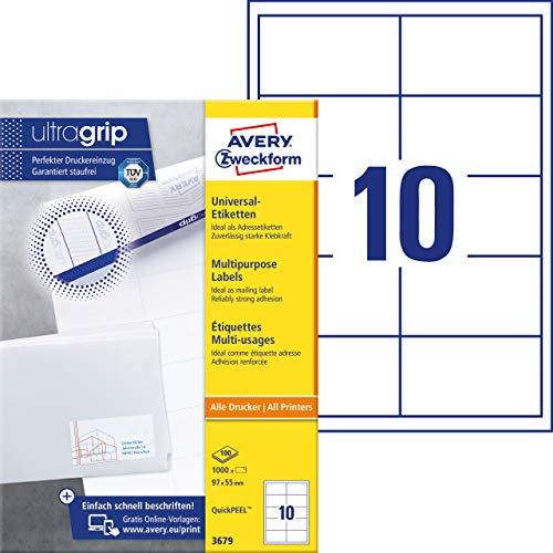 AVERY Zweckform 3679 Adressaufkleber (mit ultragrip, 97 x 55 mm auf DIN A4, Papier matt, bedruckbare, selbstklebende Adressetiketten, 1.000 Klebeetiketten auf 100 Blatt) weiß (Avery Adressetiketten Inkjet)