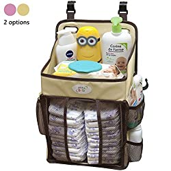 Baby Diaper Caddy and Nursery Storage Organizer - Hard Plastic Body-No Sagging with Heavy Items - Hooks for Hanging on Cribs - Small Portable Size for Travel - Neutral Color for Boy or Girl (Beige)