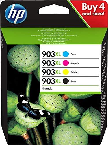Hp 903 xl multipack confezione da 4 cartucce originali, ad alta capacità, da 3.300 pagine in totale, 825 pagine per cartuccia, compatibile con hp officejet serie 6900, nero/ciano/giallo/magenta