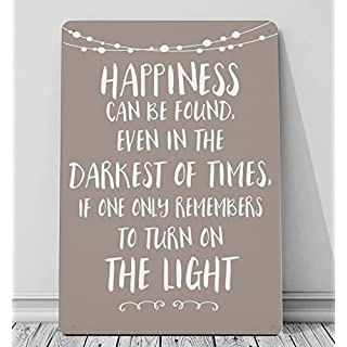 Artylicious Happiness can be found in the darkest – Harry Potter quote STONE A4 metal sign plaque wall art