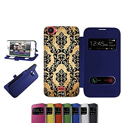 CASELABDESIGNS S VIEW BOOK CASE COVER BLUE EFFETTO LEGNO TRAMA WALL FOR WIKO RAINBOW JAM BLU - BODY S VIEW BOOK BLUE MATERIAL PROTECTIVE SHOCK