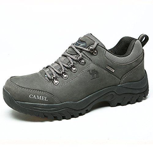 Camel Women Men's Shoe Outdoor Climbing Shoes Trainer Sneakers W/Lace Up Boots Ideal for Trekking Sport Walking Hunting Athletic Suitable for All Season,Grey,UK 7.5