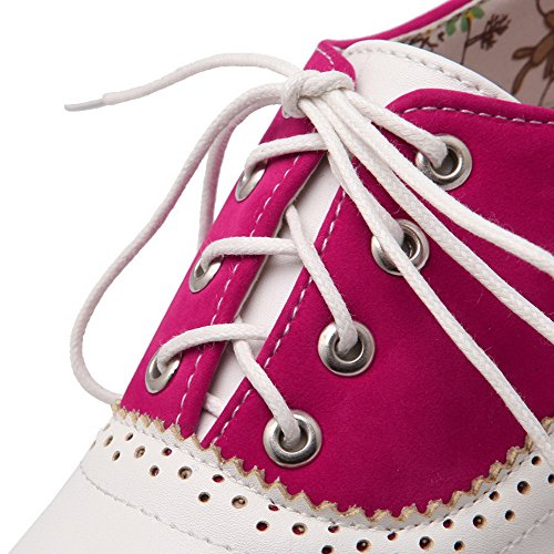 VogueZone009 Donna Finta Pelle Scamosciata Punta Tonda Punta Chiusa Tacco Basso Allacciare Puro Ballerine Rosa