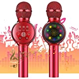 Karaoke Microfono Wireless, NASUM LED Microfono Karaoke Portatile 3 in 1 Handless per Cantare, Funzione Eco, Compatibile con Android/iOS, PC o smartphone(Red)