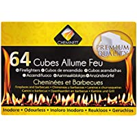 Pyro Feu Cheminett 15746-12 64 Pastillas Encendido de Parafina para chimeneas y Barbacoa, Blanco