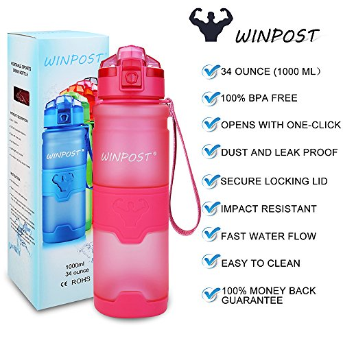 WINPOST Sports Water Bottle,500ml&700ml&1000ml-BPA Free Eco-Friendly Tritan Plastic Bottle with Filter,Flip Top,Opens with 1-Click,Reusable with Leak Proof Lid- For Camping,Running,Gym,Yoga and Outdoors (Pink, 1000ml)