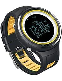 Sunroad FR800NB termómetro digital Deportes al aire libre retroiluminación 5ATM impermeable brújula podómetro reloj de los hombres Relogio reloj amarillo