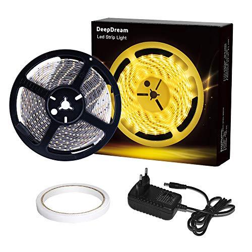 DeepDream 5m LED Strip IP65 Wasserdicht 300 LEDs Lichtband Streifen mit 24W Netzteil, 2835 SMD LED Band,3000K Warmweiss,Innen und Außen Beleuchtung für Deko Party Küche Weihnachten [Energieklasse A+]