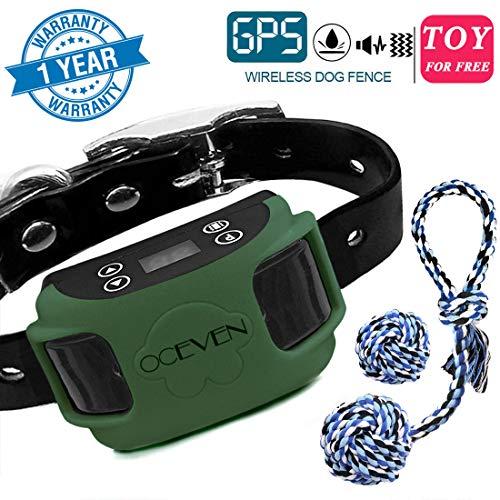 OCEVEN Unsichtbarer Zaun für Hunde, 20-800 Meter im Radius, Vibrationshalsband mit GPS-System, Sichere und Einfache Installation, Free 2 Dog Toys (Grün)