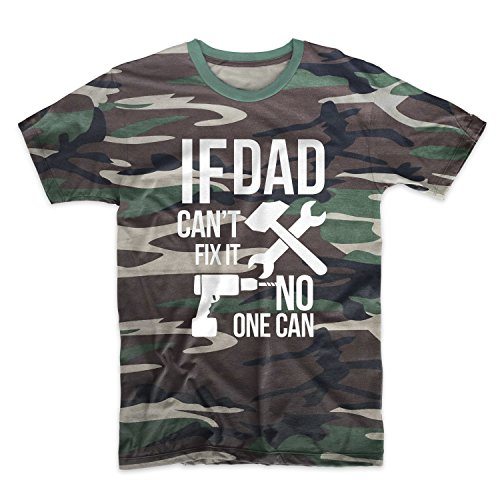 If Dad Can't Fix It No One Can Cool Father Family Camuffare Uomo T-Shirt Maglietta Camo Large