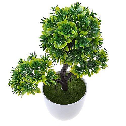 Kompassswc künstlicher bonsaibaum Kunstbonsai Kunstpflanzen MIT Töpfchen Zimmer Party Dekor Kunstbäume Topfpflanzen 26cm Höhe (Grün) - 2