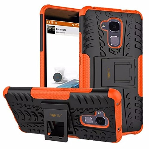 Heartly Huawei Honor 5C Back Cover Kick Stand Rugged Shockproof Tough Hybrid Armor Dual Layer Bumper Case - Mobile Orange