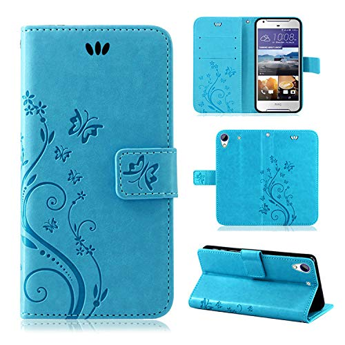 betterfon | Flower Case Handytasche Schutzhülle Blumen Klapptasche Handyhülle Handy Schale für HTC Desire 628 Blau