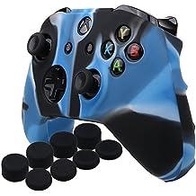 YoRHa silicona caso piel Fundas protectores cubierta para Microsoft Xbox One X y Xbox One S Mando[Después del modelo 8.2016] x 1 (Camuflaje azul) Con Pro los puños pulgar thumb grips x 8
