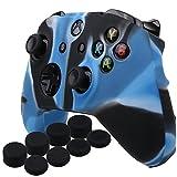 YoRHa Housse en Silicone Coque Custom pour Microsoft Xbox One X et Xbox One S Manette [Modèle 8.2016] x 1 (Camouflage bleu) Avec Pro thumb grip poignée pouce Pro x 8