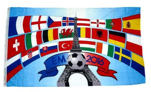 Fahne / Flagge EM 2016 Frankreich Teilnehmer 90 x 150 cm