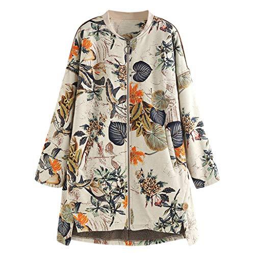 BHYDRY Damen Winter Warm Vintage Outwear Blumendruck Taschen Vintage Oversize Mäntel -