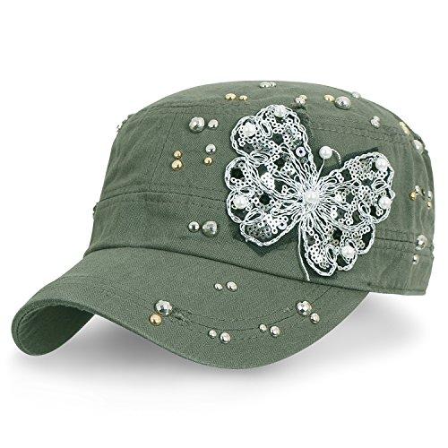 ililily klassischer Stil abgenutztes Aussehen Baumwolle Armee Hut Laced Schmetterling Militär Kadett Cap , Olive Green (Hut Olive Militär)