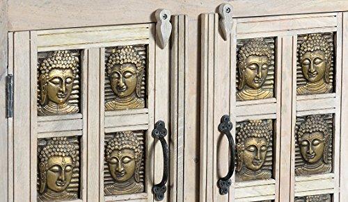 The Wood Times Kommode Schrank Massiv Vintage Look Buddha Mangoholz, FSC Recycelt, BxHxT 80x85x40 cm - 2