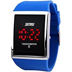 Skmei Touch Screen Digital LED Waterproof Boys Girls Sport Casual Wrist Watches Blue