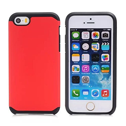 iPhone 5S Cas, iPhone 5 Cas, Lantier cool Série [Slim mince Armure] Dual Layer hybride de protection antichoc Case pour Apple iPhone 5 / 5S Noir-Violet Black-Red