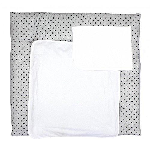 TupTam Wickelauflage inkl. 2 Frotteebezüge, Farbe: Sterne Grau, Größe: 76 x 76 cm