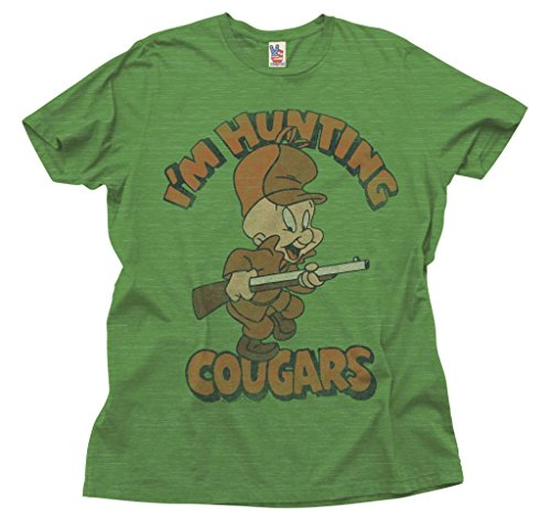junk-food-looney-tunes-im-hunting-cougars-erwachsene-grun-t-shirt-xx-large