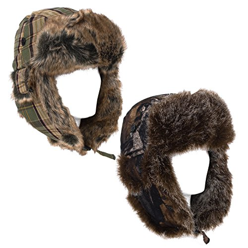 Russian Trapper Aviator Hat Autumn Leaves/Camouflage Print Checked