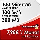 DeutschlandSIM SMART 100 [SIM und Micro-SIM] monatlich kündbar (300MB Daten-Flat, 100 Frei-Minuten, 100 Frei-SMS, 7,95 Euro/Monat, 15ct Folgeminutenpreis) Vodafone-Netz preiswert