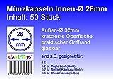50 Münzkapseln 26mm, Geeignet für 2 Euro-Münzen, 1/2 oz Maple Leaf (Gold), 1/2 oz Nugget Känguru (